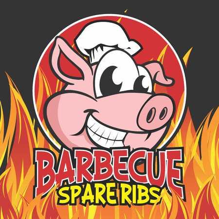 Vector Cartoon Pig Karakter Mascotte Logo Illustratie Sjabloon van Barbecue Char Gegrilde Spare Pork Ribs