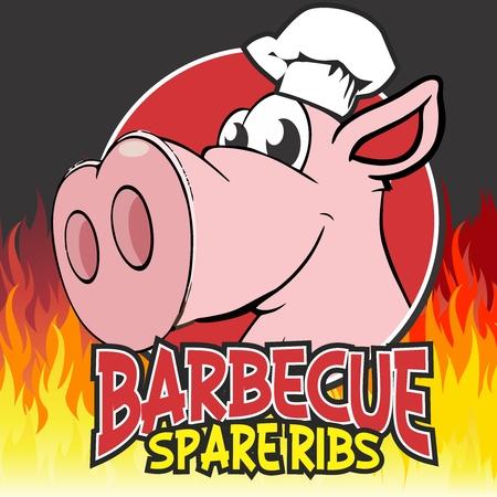 バーベキュー炭火焼きスペア豚カルビのロゴ イラスト テンプレート ベクトル漫画豚文字マスコット