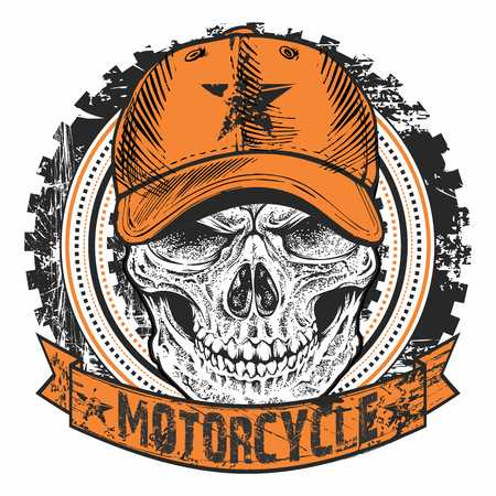 gazing: Vector Retro Bikers Emblem Motorcycle with Skull Wearing Baseball Cap