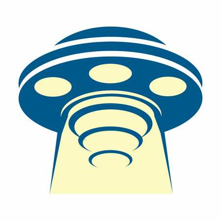 invade: Vector Cartoon Retro Flying saucer UFO Sucking up Object with Light Beam