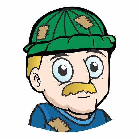 Vector Cartoon Unhappy Hobo Homeless Old Man Mascot with Worn Clothes