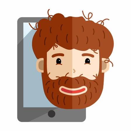 Vector Cartoon Untidy Fuzzy Bearded Man with Smartphone