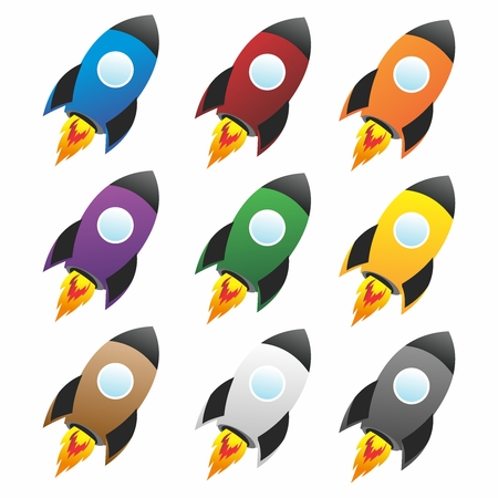 nuclear bomb: Vector Futuristic Cartoon Rocket, Spaceship, Space Shuttle Flat Icon Collection Illustration