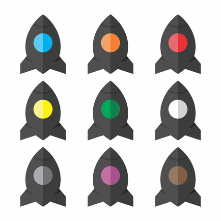 Vector Futuristic Cartoon Rocket, Spaceship, Space Shuttle Flat Icon Collection 向量圖像