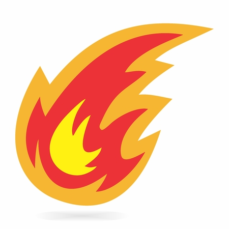 Vector Cartoon Fireball Symbol on white background