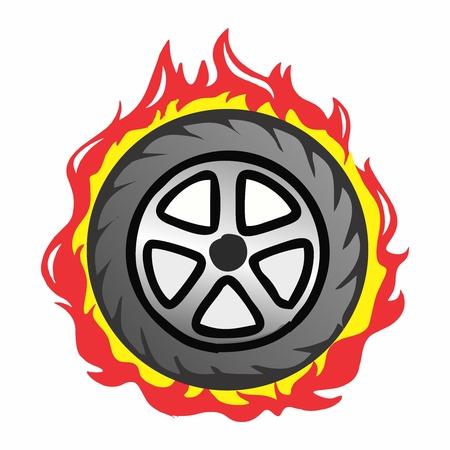 Vector Cartoon Racing Car Parts on Fire
