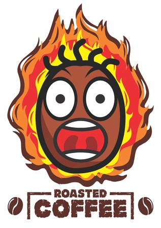 Vector Cartoon Cute Happy Roasted Coffee Beans Character with flame background Illustration