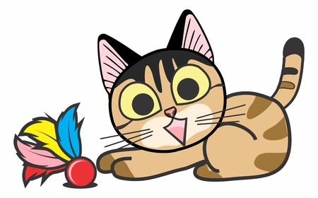 gazing: Vector Cartoon Cat Playing with Feather Toy