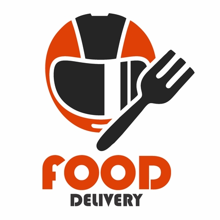 Vector Conceptual Food Delivery Logo Design, Fork and Motorcycle Helmet Illustration