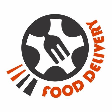 Vector Conceptual Food Delivery Logo Design, Fork in the Wheel Illustration
