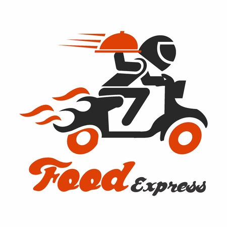 Vector Conceptual Food Delivery Logo Design, Motorcycle Driver Carrying Plate of Food Illustration