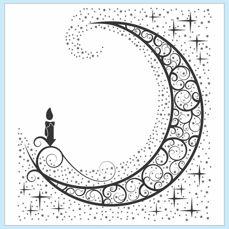 Vector Celtic Moon Symbol with Candle and Stars Illustration