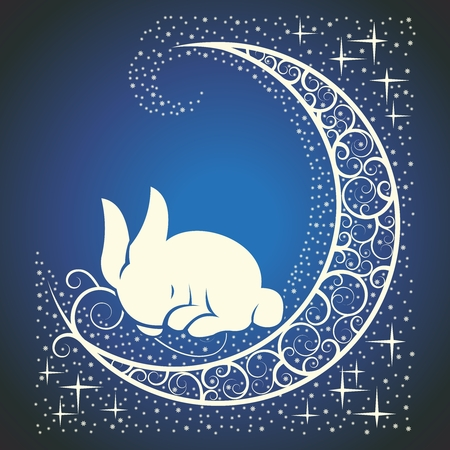 Vector Easter Bunny with Celtic Moon and Stars