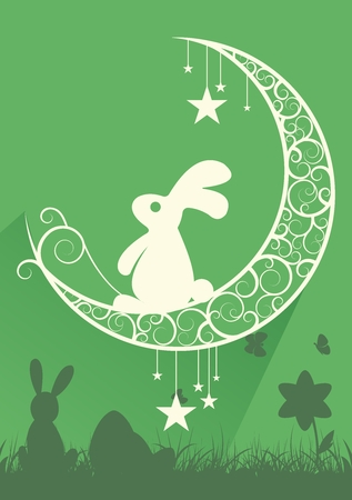 Easter Bunny with Celtic Moon and Stars Illustration
