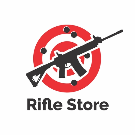 Vector Military Heavy Rifle with Bullseye Logo isolated on white background