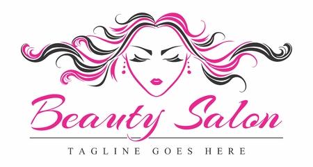 Logo for Beauty Salon, Woman Face and Hair