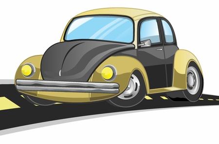 Vector Cartoon Vintage car driving on Highway