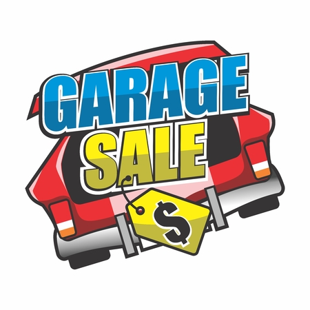 Garage Sale, Yard Sale Typography with Price Tag and Opened Car Trunk