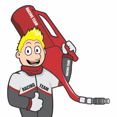 Cartoon of technician of car racing with gas can.