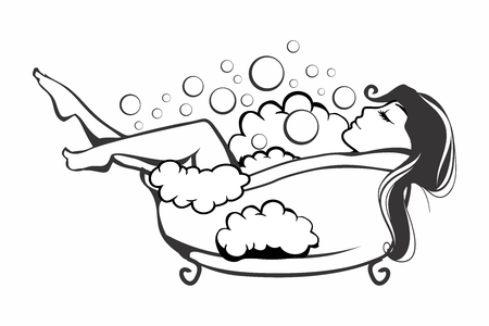 Vector Silhouette of a Beautiful Woman in The Bathtub