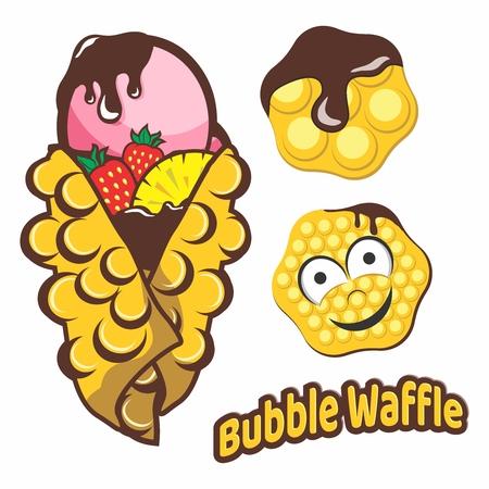 버블 와플, 초콜릿 소스와 함께 디저트의 벡터 만화 일러스트 레이 션 요소