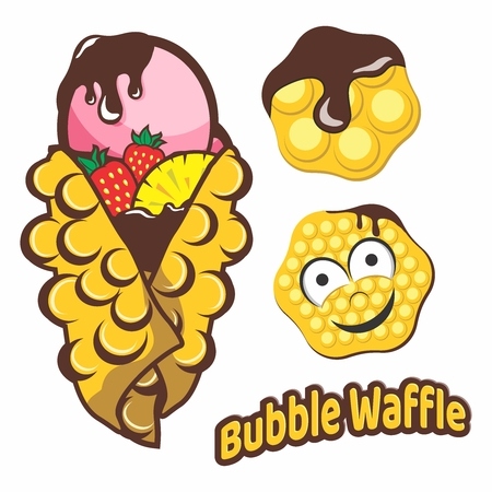 Vector Cartoon Illustration Elements of Bubble Waffles, Desserts with Chocolate Sauces