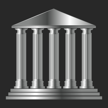 Vector Antique Greek Temple Architecture with Columns in Metallic Silver