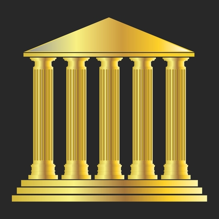 Vector Antique Greek Temple Architecture with Columns in Golden color