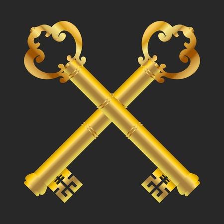 security council: Vector Medieval Vintage Gold Cross Keys Illustration