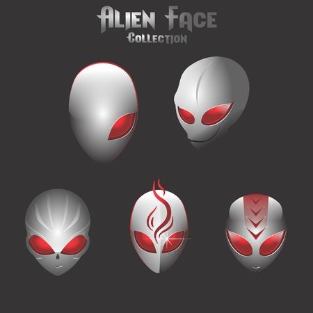 A Vector Creative Reflective Red Eyes Alien Face graphic design. 向量圖像