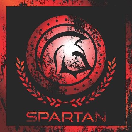 Vector Artistic Rustic Mascot with Spartan Helmet