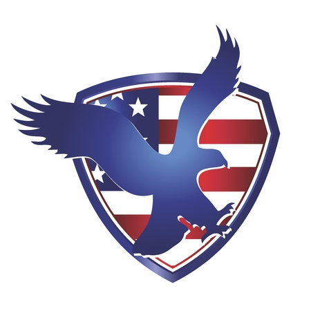 Vector Patriotic American Eagle Wings Spread with Shield and Flag