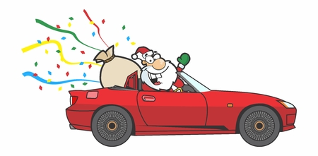Cartoon Modern Santa Claus Driving on a Red Automobile Illustration