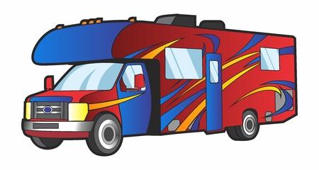 Vector creative cartoon colorful caravan Illustration, isolated on white background. Illustration