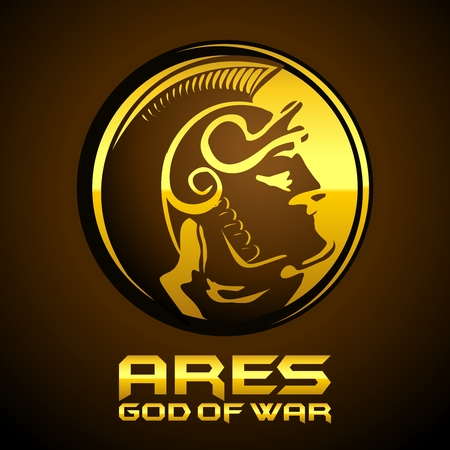 Silhouette of Antique Greek God of War Ares, Mars in Roman mythology)