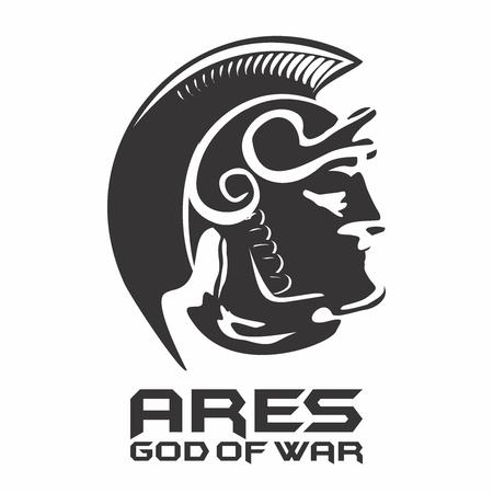 古代ギリシャの戦争の神アレスのシルエット、ローマ神話の火星)  イラスト・ベクター素材