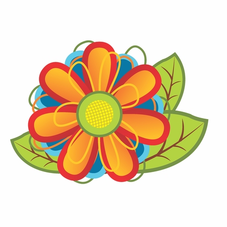 Vector cute cartoon colorful flower bouquet, isolated on white background.
