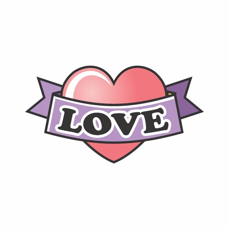 Vector Cute Cartoon Lovely Heart Illustration isolate on white background