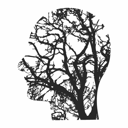 Vector Abstract Human Head Silhouette with Brain Nerves Neurons Cell Circuit Pattern Illustration
