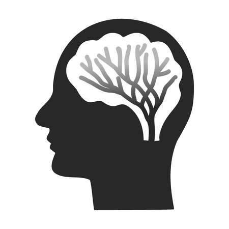 Vector Abstract Human Head Silhouette with Brain Nerves Neurons Cell Circuit Pattern Ilustração