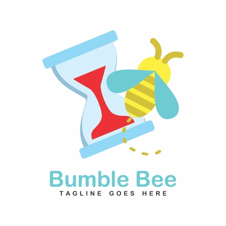 Vector Cute Cartoon Honeybee Bumblebee Silhouette, busy working with hourglass a the back Illustration