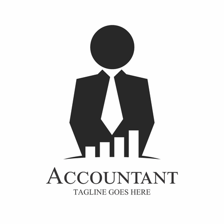 Vector Silhouette of Executive Business Man in Black Suit, working with investment consultant analyzing financial company