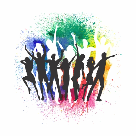Vector Night Party Silhouette, Men and Women dancing on a colorful grunge background