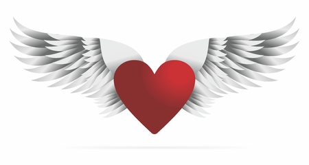Heart with Wings, Retro style Illustration background