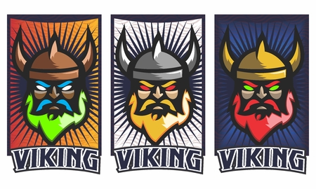 Cartoon viking face design illustration