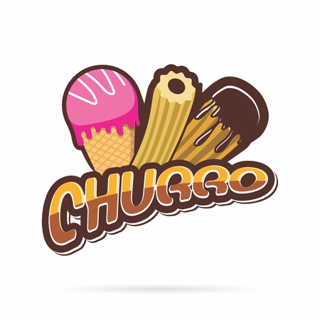 A Vector Cartoon Illustration of the Traditional Spanish Pastry with chocolate dipping Illustration