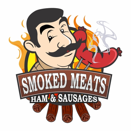 Vector Retro Cartoon Butchery Shop Vendor Logo, Masculine Butcher Face with Sausage on the Fork with smoke coming out, fire and charcoal wood log background Stock Illustratie