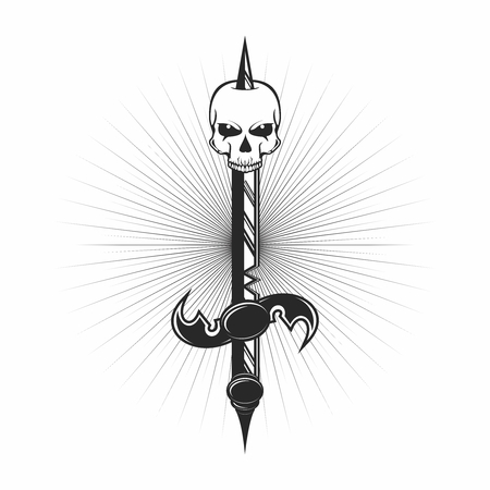 Vector Monochrome Tattoo of Skull, Dagger pierce through Skull 向量圖像