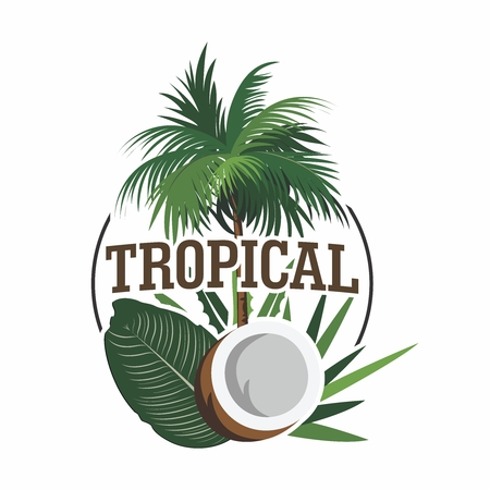 Vector Logo Illustration of Tropical Theme, with palm tree, coconut and foliage