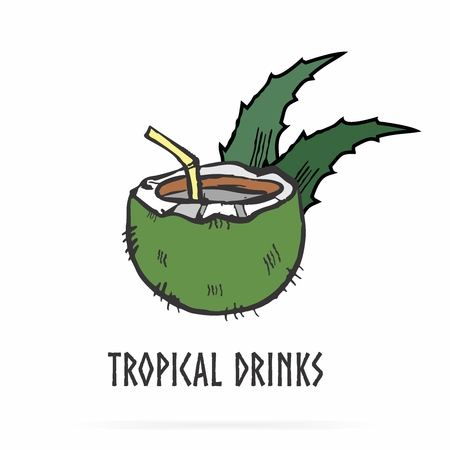 Vector Logo Illustration of Tropical Theme, with coconut and aloe vera leaf 向量圖像